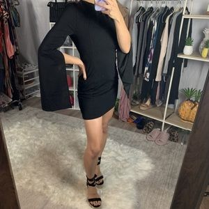 Slit Sleeve Open Back Mini Dress